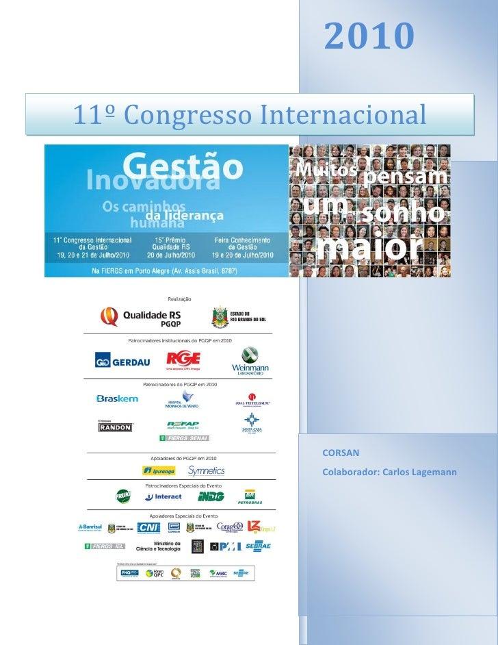 2010 11º Congresso Internacional                        CORSAN                    Colaborador: Carlos Lagemann