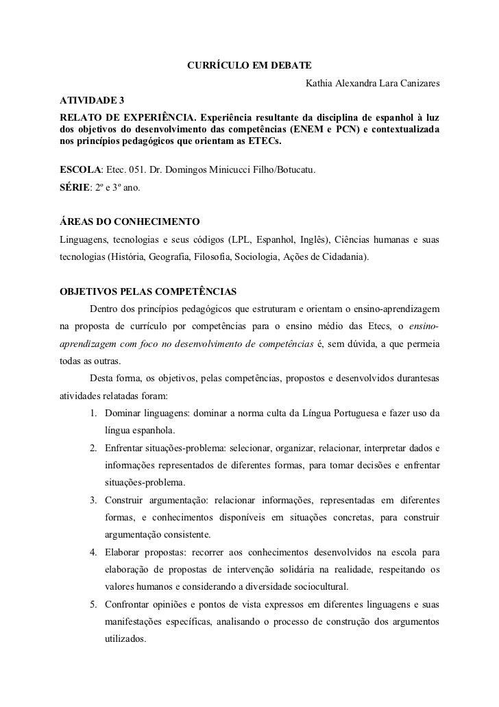CURRÍCULO EM DEBATE                                                             Kathia Alexandra Lara CanizaresATIVIDADE 3...