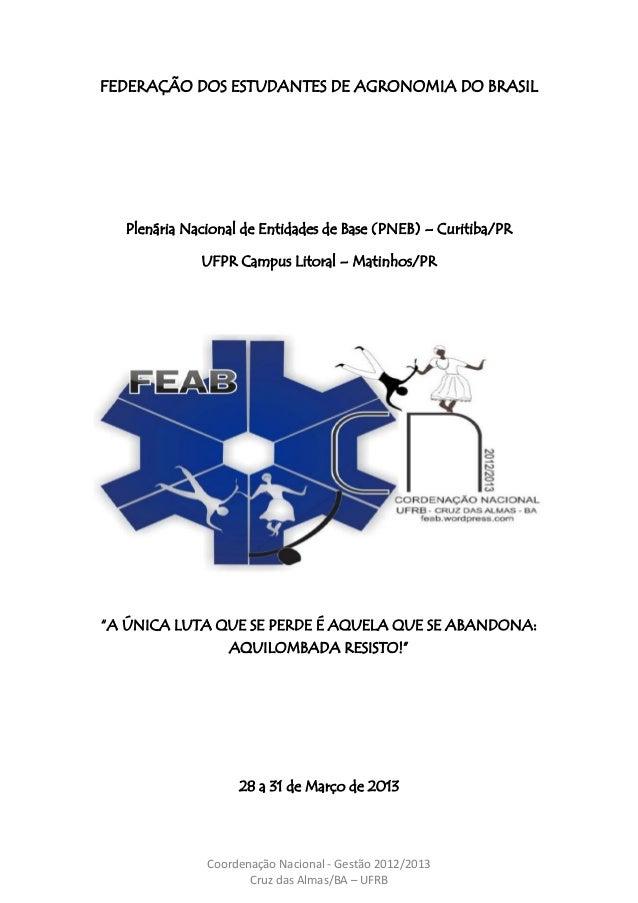 Coordenação Nacional - Gestão 2012/2013 Cruz das Almas/BA – UFRB FEDERAÇÃO DOS ESTUDANTES DE AGRONOMIA DO BRASIL Plenária ...