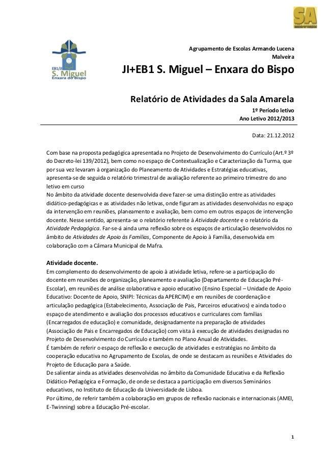 Relatorio 1º Período 2012-2013