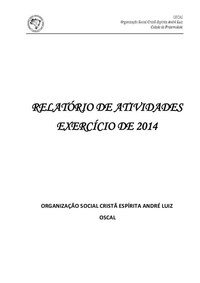 RELATÓRIO DE ATIVIDADES EXERCÍCIO DE 2014 ORGANIZAÇÃO SOCIAL CRISTÃ ESPÍRITA ANDRÉ LUIZ OSCAL