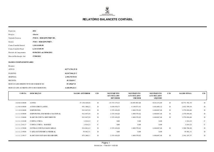 Relatorio balancetecontabil   06-2011 - sergipeprevidência