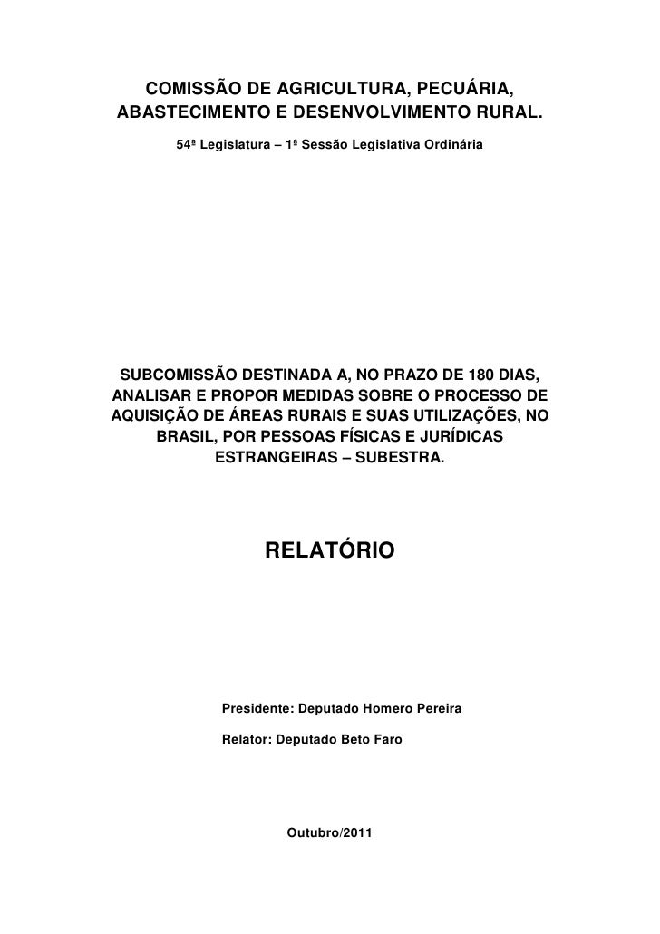 COMISSÃO DE AGRICULTURA, PECUÁRIA,ABASTECIMENTO E DESENVOLVIMENTO RURAL.       54ª Legislatura – 1ª Sessão Legislativa Ord...