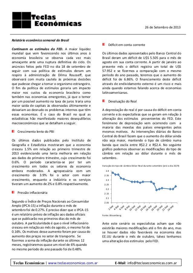 Relatório econômico semanal do Brasil