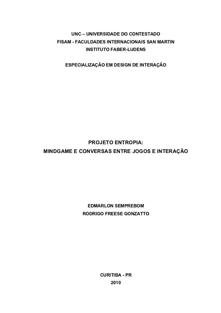 Projeto Entropia: MindGame e conversas entre Jogos e Interação (relatório)