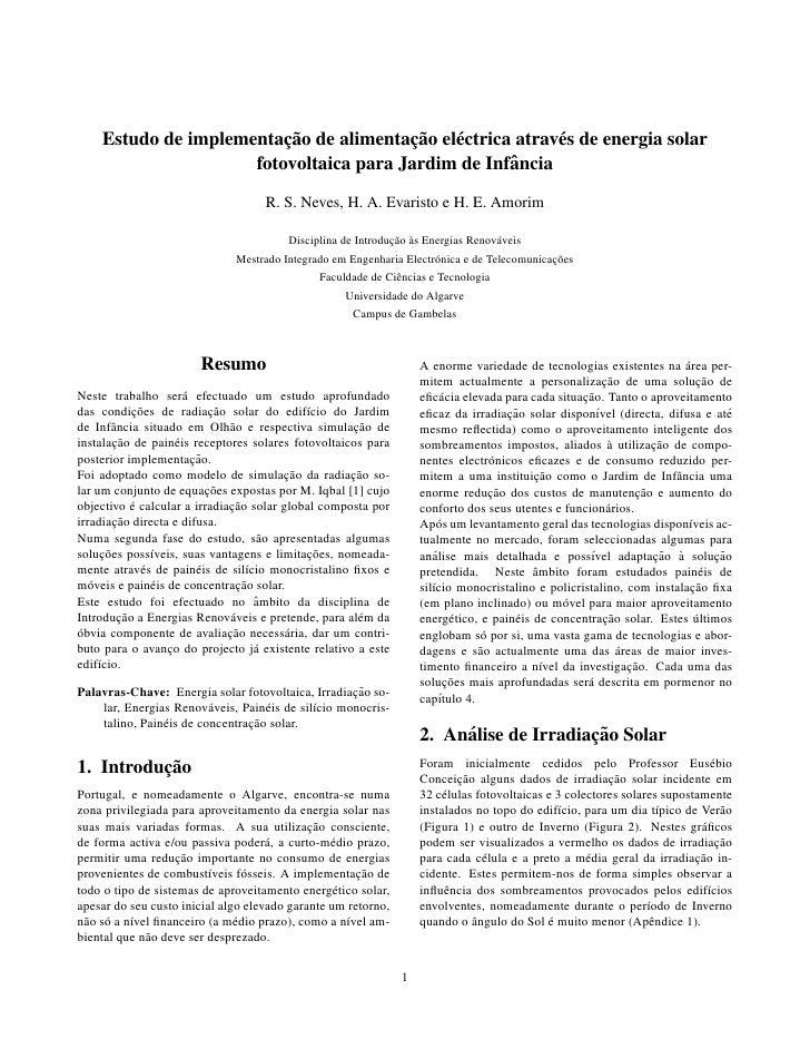 ¸˜             ¸˜     Estudo de implementacao de alimentacao el´ ctrica atrav´ s de energia solar                         ...