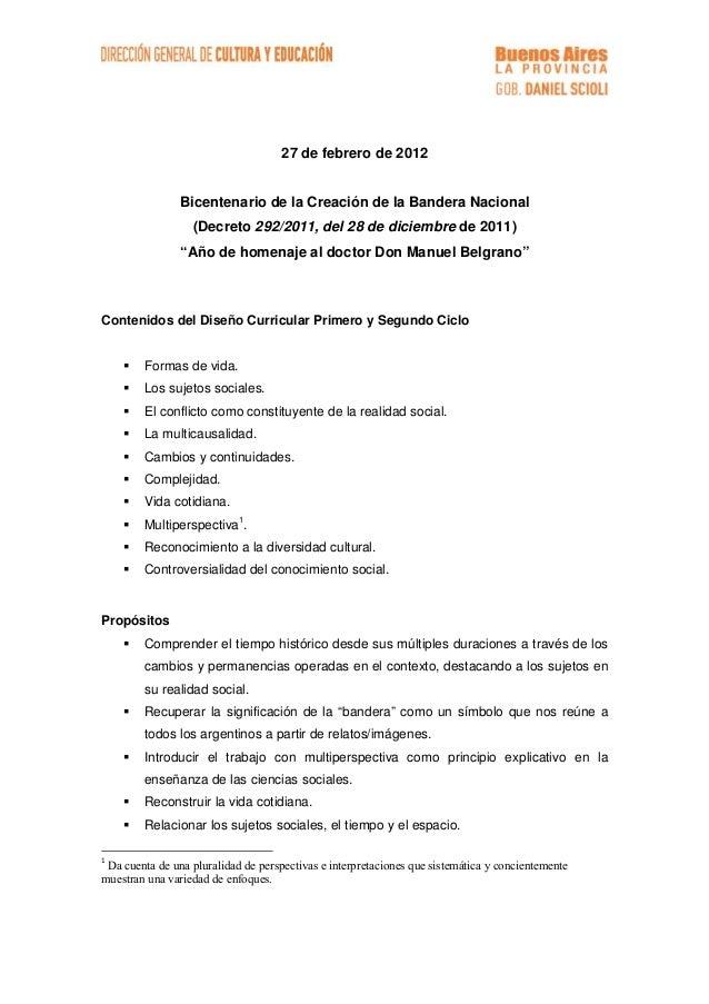 """27 de febrero de 2012 Bicentenario de la Creación de la Bandera Nacional (Decreto 292/2011, del 28 de diciembre de 2011) """"..."""