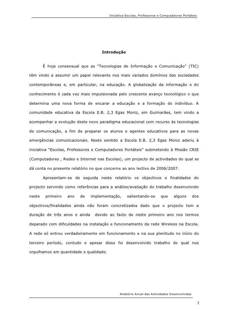 Iniciativa Escolas, Professores e Computadores Portáteis                                         Introdução           É ho...