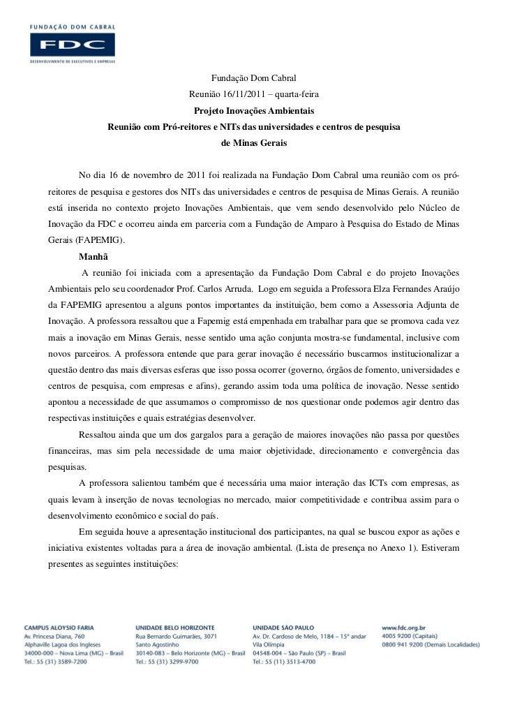 Relatório - Projeto Inovações Ambientais. Reunião com Pró-reitores e NITs das universidades e centros de pesquisa de Minas Gerais