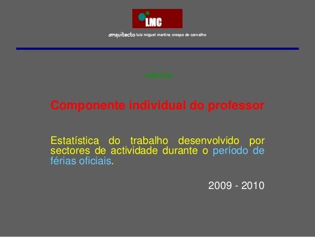 arquitectoluiz miguel martins crespo de carvalho Componente individual do professor Estatística do trabalho desenvolvido p...