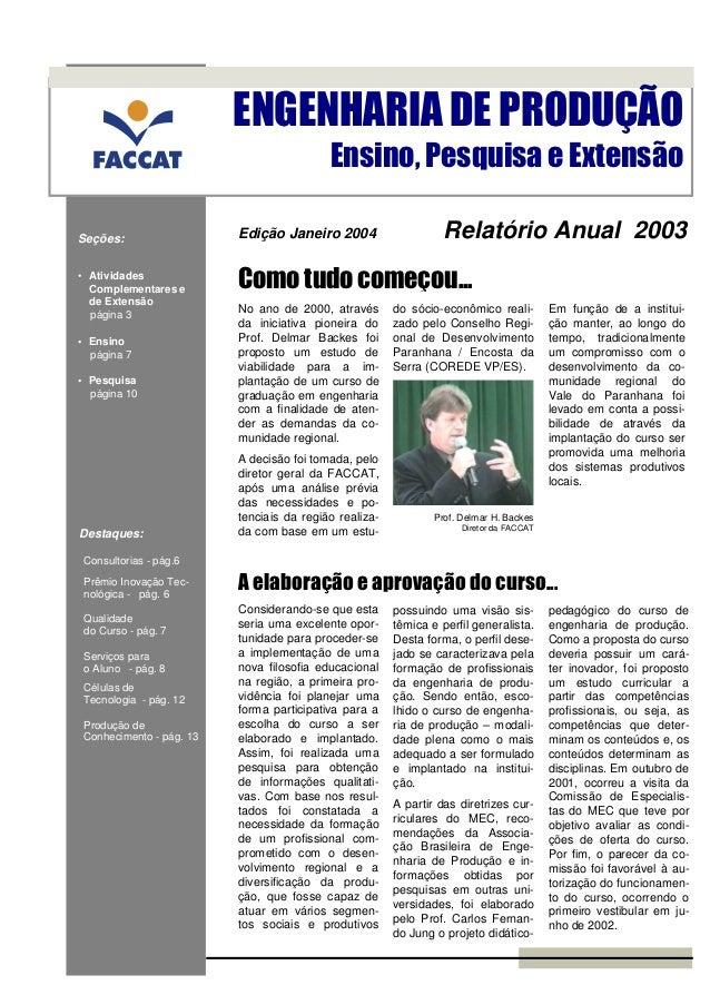 ENGENHARIA DE PRODUÇÃO                                          Ensino, Pesquisa e ExtensãoSeções:                  Edição...