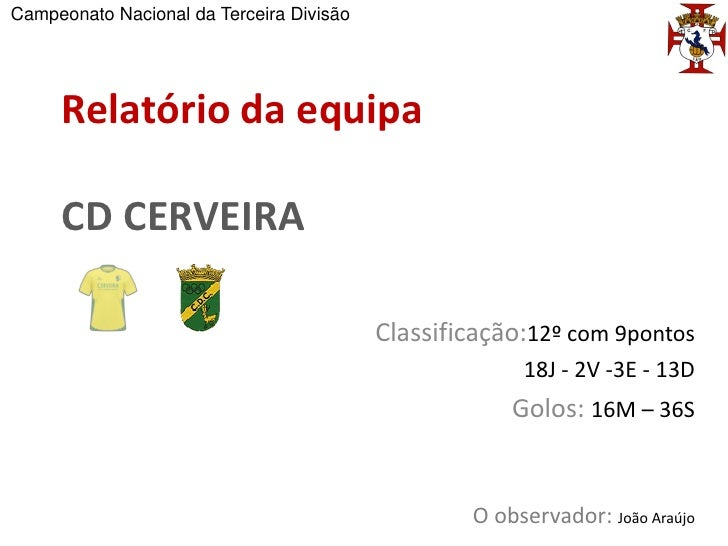 Campeonato Nacional da Terceira Divisão     Relatório da equipa     CD CERVEIRA                                          C...