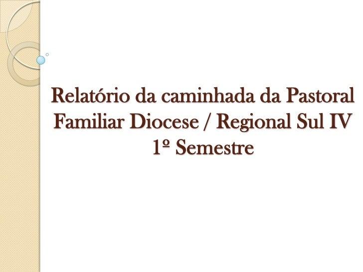 Relatório da caminhada da Pastoral Familiar Diocese / Regional Sul IV  1º Semestre<br />