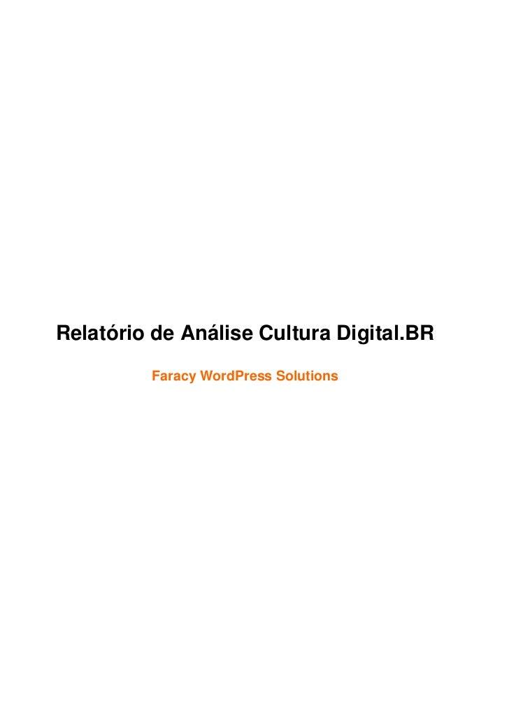 Relatório de análise da plataforma cultura digital