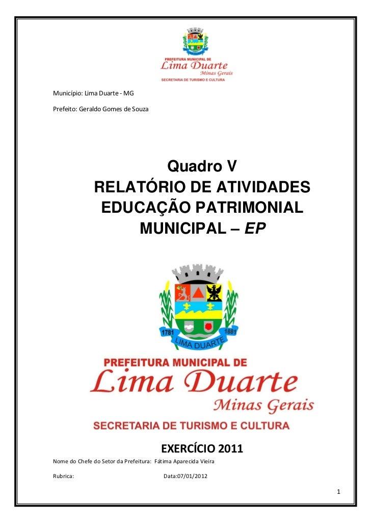 Relatório de Atividades de Educação Patrimonial