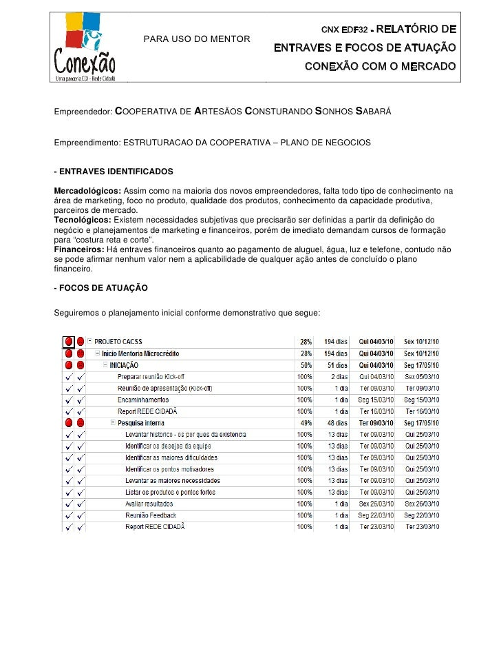 CNX EDF32 -   RELATÓRIO DE                      PARA USO DO MENTOR                                                        ...