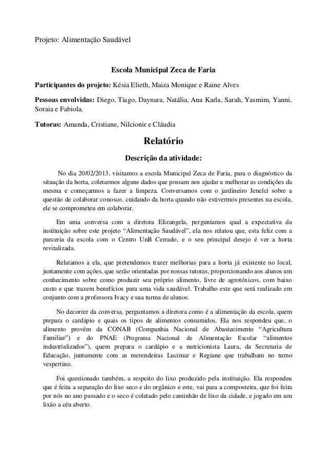 Relatório do projeto na Escola Zeca de Faria