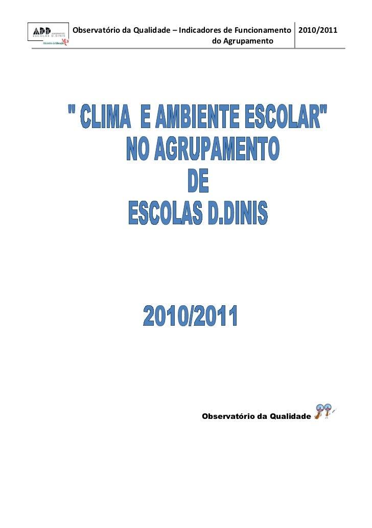Observatório da Qualidade – Indicadores de Funcionamento 2010/2011                                     do Agrupamento     ...