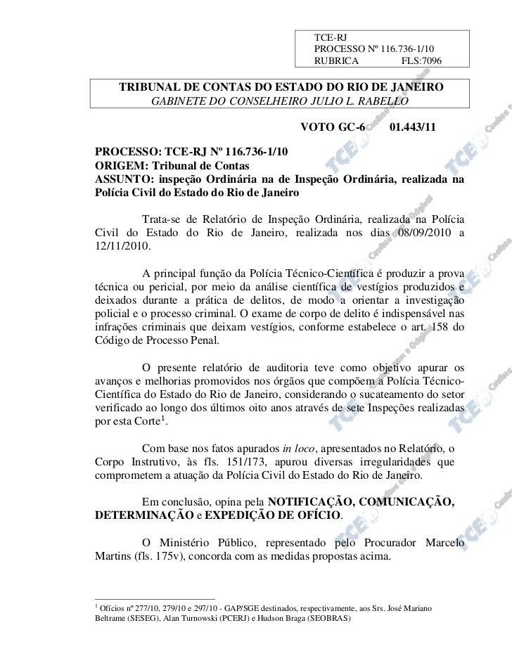 Relatório tce   polícia técnica do rio de janeiro