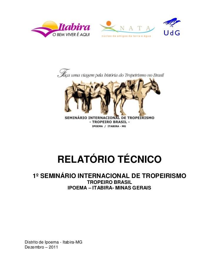 RELATÓRIO TÉCNICO    1º SEMINÁRIO INTERNACIONAL DE TROPEIRISMO                             TROPEIRO BRASIL                ...