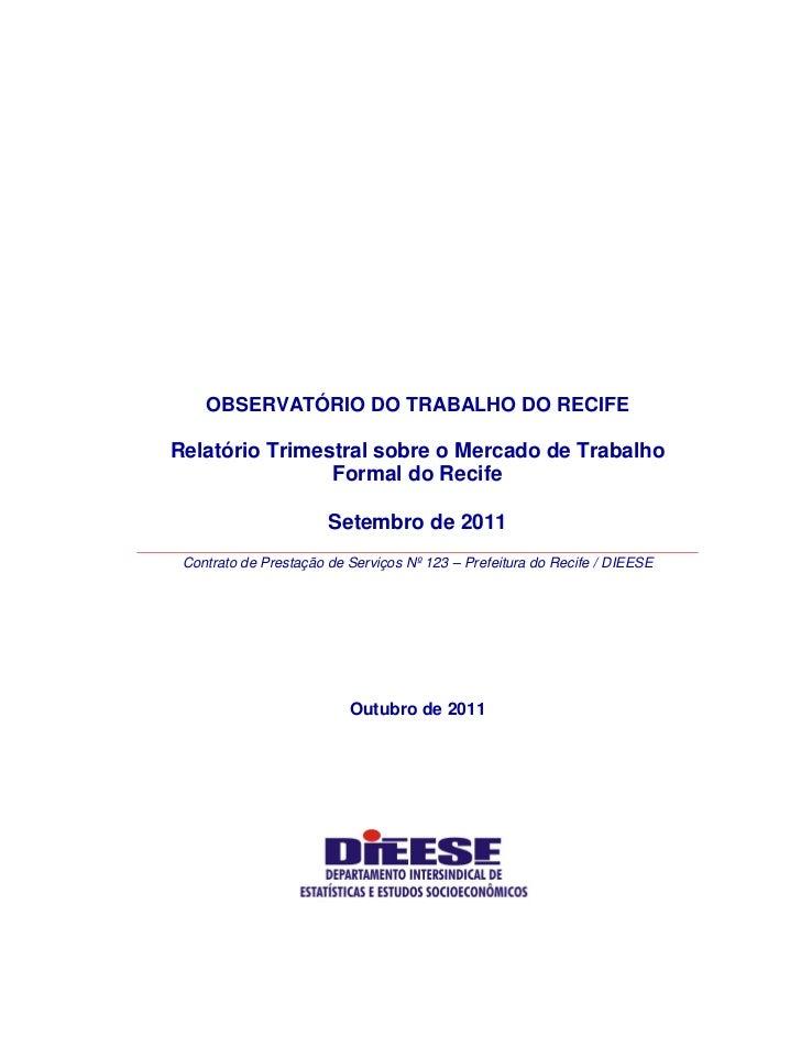 Relatório trimestral sobre o mercado de trabalho formal do recife outubro 2011 versão completa