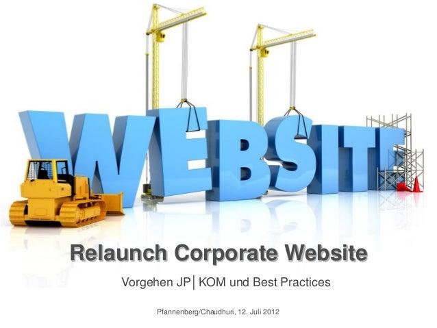 Relaunch Corporate Website    Vorgehen JP│KOM und Best Practices         Pfannenberg/Chaudhuri, 12. Juli 2012