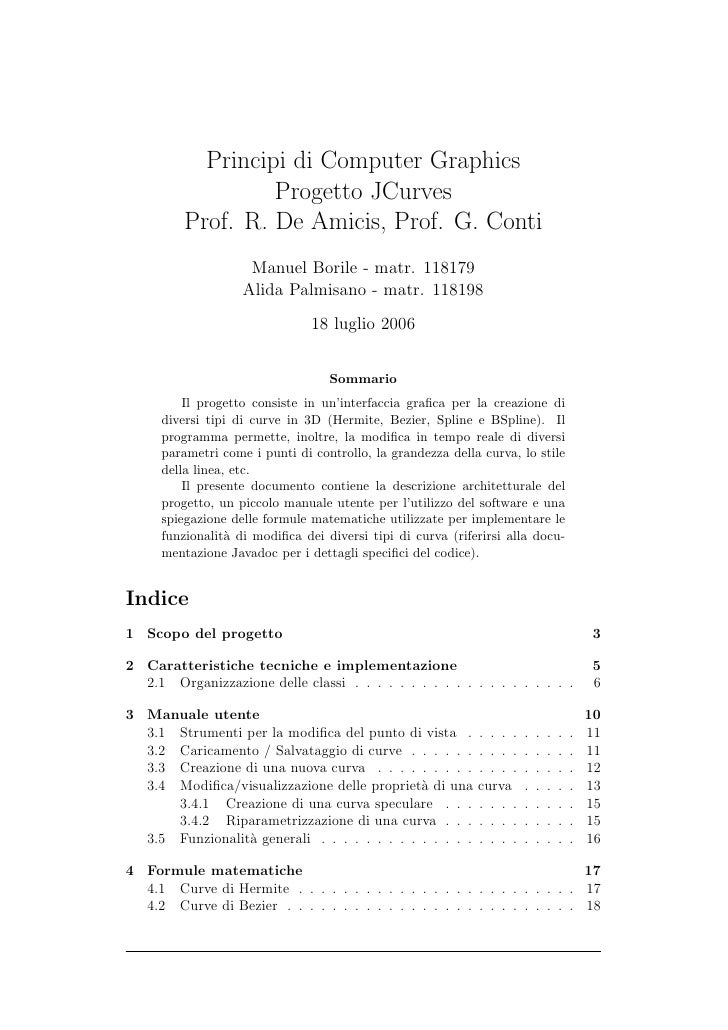 Principi di Computer Graphics                   Progetto JCurves          Prof. R. De Amicis, Prof. G. Conti              ...