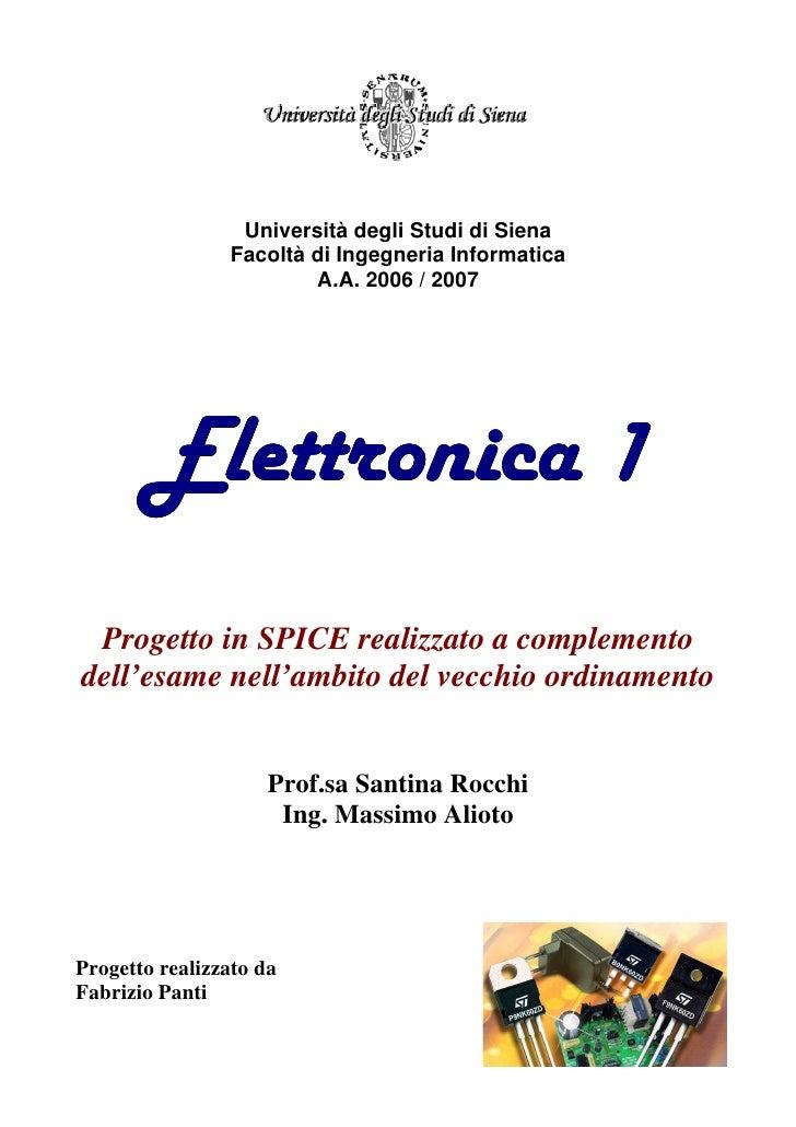 Università degli Studi di Siena                Facoltà di Ingegneria Informatica                        A.A. 2006 / 2007  ...