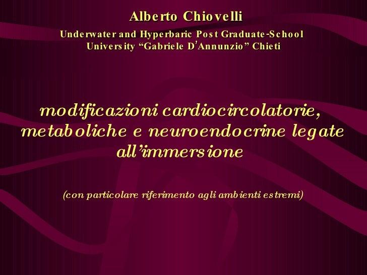 """Alberto Chiovelli Underwater and Hyperbaric Post Graduate-School   University """"Gabriele D'Annunzio"""" Chieti modificazioni c..."""