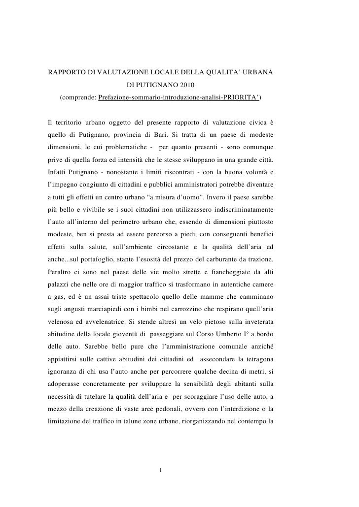 RAPPORTO DI VALUTAZIONE LOCALE DELLA QUALITA' URBANA                            DI PUTIGNANO 2010     (comprende: Prefazio...