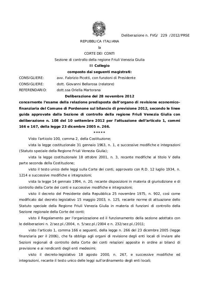 Corte dei Conti su bilancio previsione 2012 Comune Pordenone