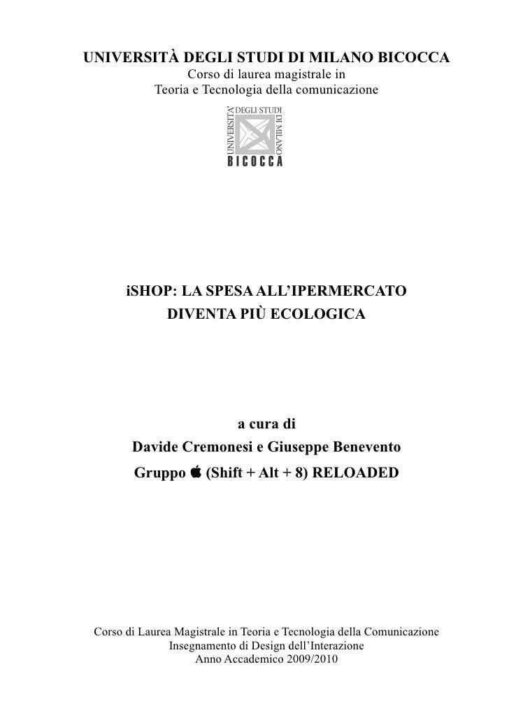 UNIVERSITÀ DEGLI STUDI DI MILANO BICOCCA                    Corso di laurea magistrale in              Teoria e Tecnologia...