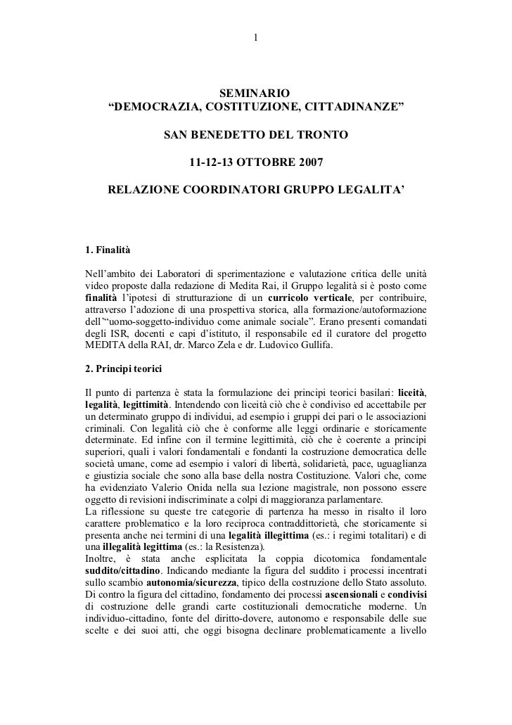Relazione del Gruppo di lavoro sulla legalità