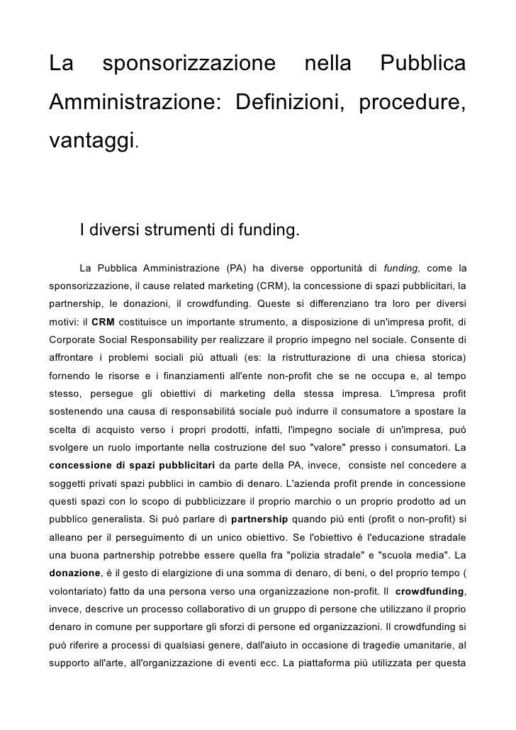 La          sponsorizzazione                              nella            Pubblica Amministrazione: Definizioni, procedur...