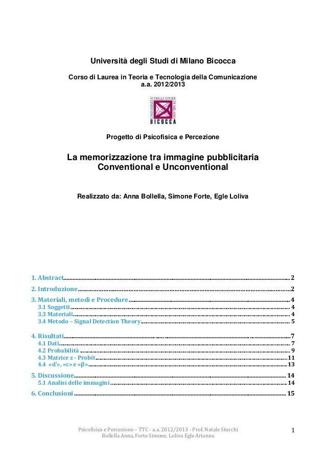 Relazione progetto psicofisica: La memorizzazione tra immagine pubblicitaria  Conventional e Unconventional