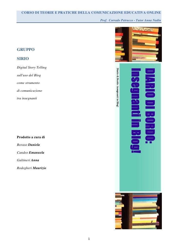 CORSO DI TEORIE E PRATICHE DELLA COMUNICAZIONE EDUCATIVA ONLINE                                      Prof. Corrado Petrucc...