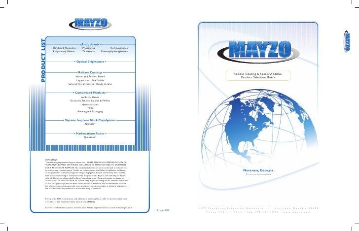 Release Coating & Special Additive                         Product Selection Guide                              Norcross, ...