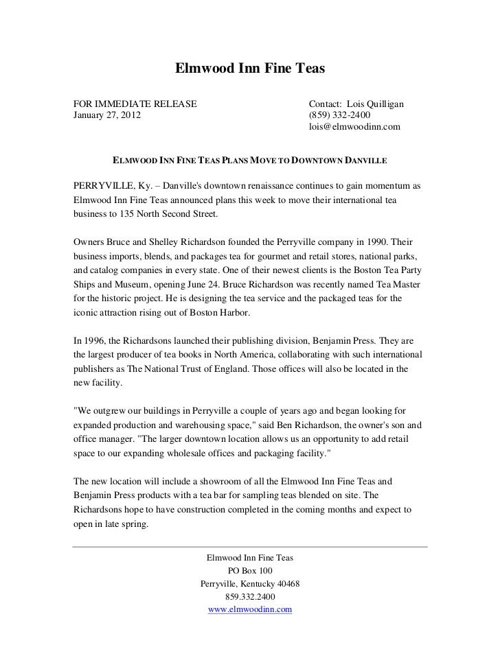 Elmwood Inn Fine TeasFOR IMMEDIATE RELEASE                                        Contact: Lois QuilliganJanuary 27, 2012 ...