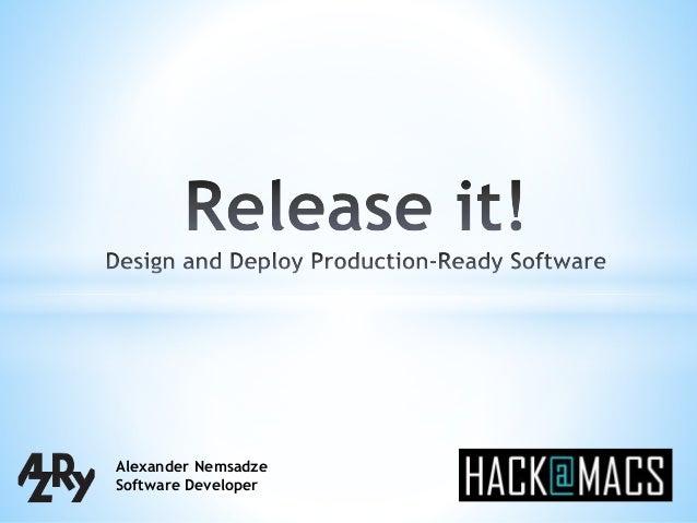Alexander Nemsadze Software Developer