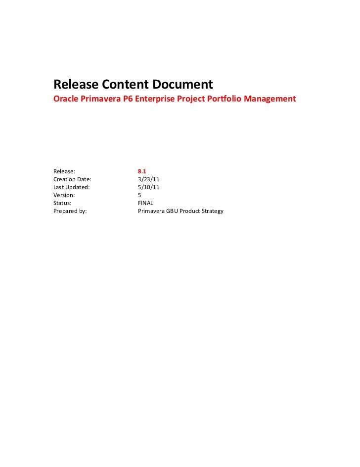 Primavera Release Notes 8.1