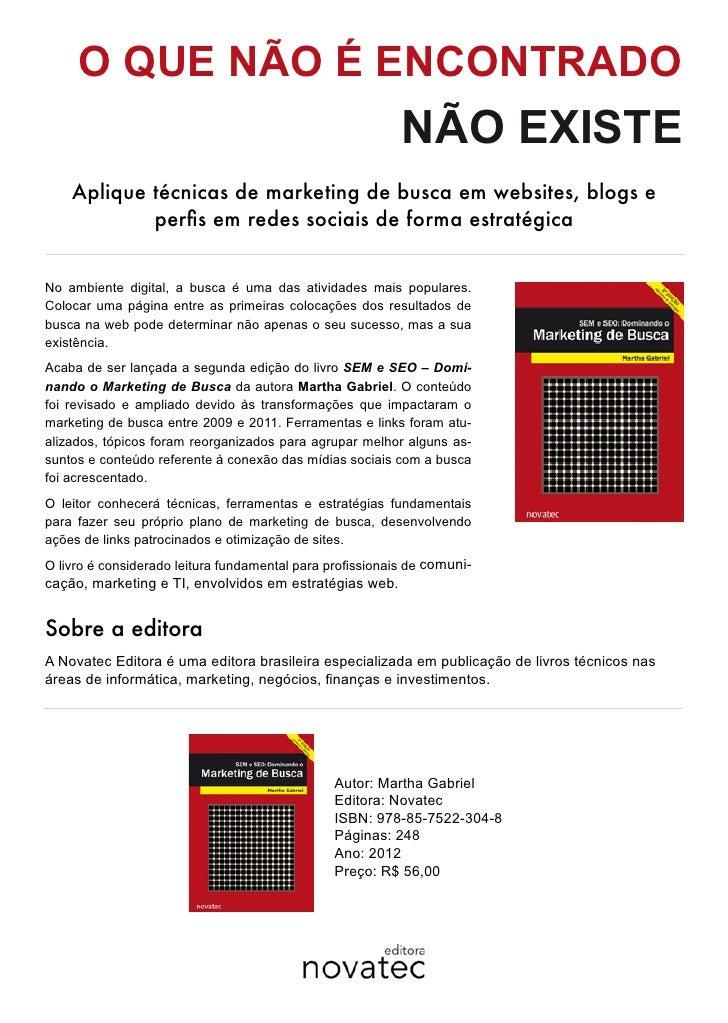 Livro Marketing de Busca da Martha Gabriel, segunda edição SEM e