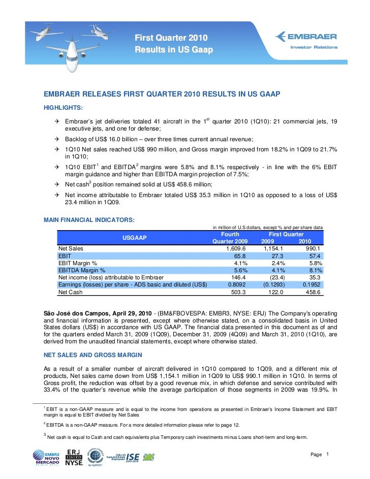 First Quarter 2010                                           Results in US GaapEMBRAER RELEASES FIRST QUARTER 2010 RESULTS...