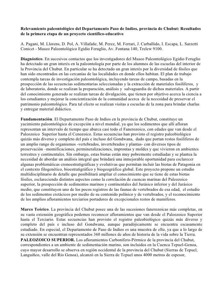 Relevamiento paleontológico del Departamento Paso de Indios, provincia de Chubut: Resultados de la primera etapa de un pro...