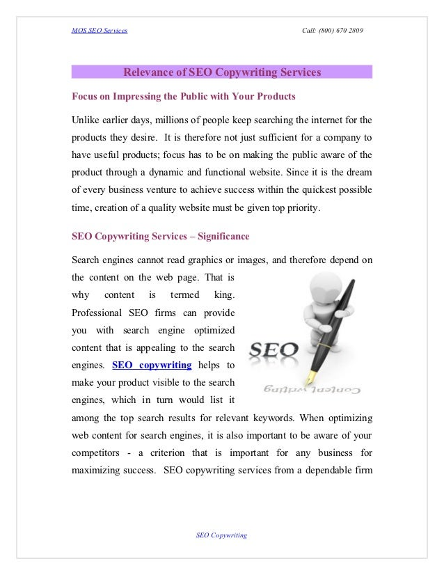 MOS SEO Services                                          Call: (800) 670 2809              Relevance of SEO Copywriting S...