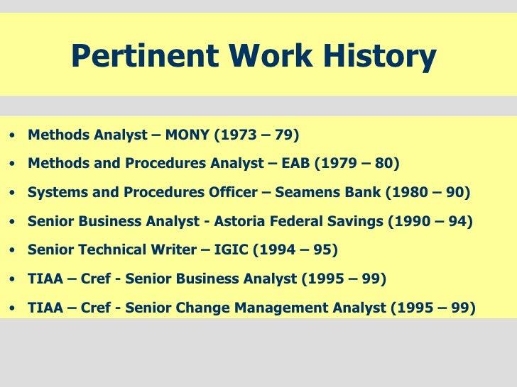 My Work History
