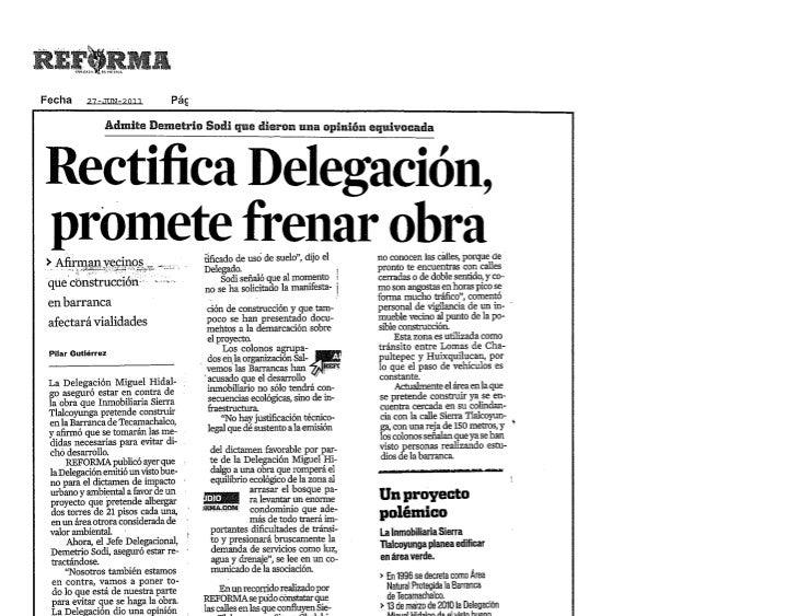 Rechaza Delegación obra en barranca                                                                                       ...