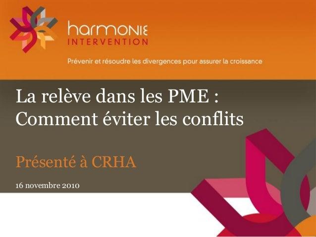 La relève dans les PME : Comment éviter les conflits Présenté à CRHA 16 novembre 2010