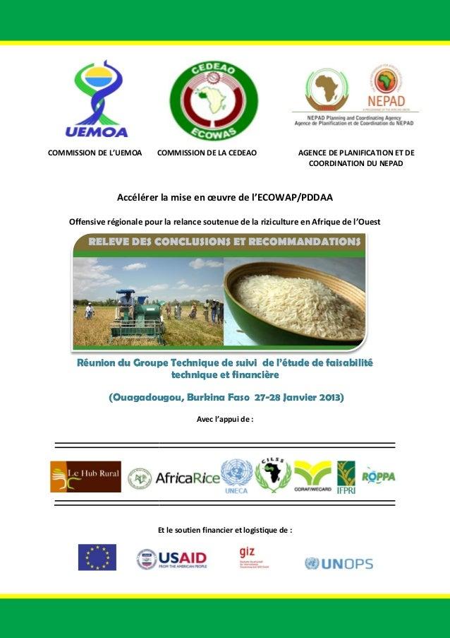 COMMISSION DE L'UEMOA  COMMISSION DE LA CEDEAO  AGENCE DE PLANIFICATION ET DE COORDINATION DU NEPAD  Accélérer la mise en ...
