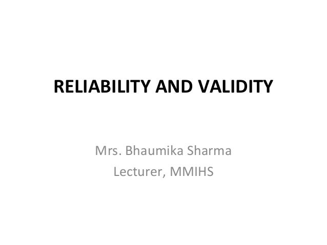 Reliability and validity1