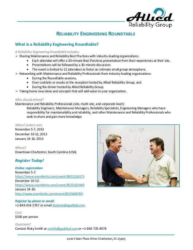 4200 Faber Place Drive Charleston, SC 29405 RELIABILITY ENGINEERING ROUNDTABLE What Is a Reliability Engineering Roundtabl...